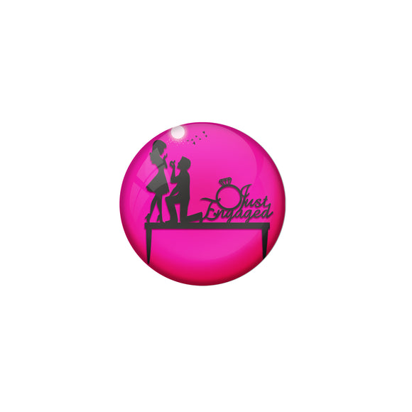 AVI Metal Pink Colour Fridge Magnet With Just Engaged Pink Design