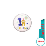 AVI Pin Badges with Multi MY First Birthday Quote Design Pack of 5