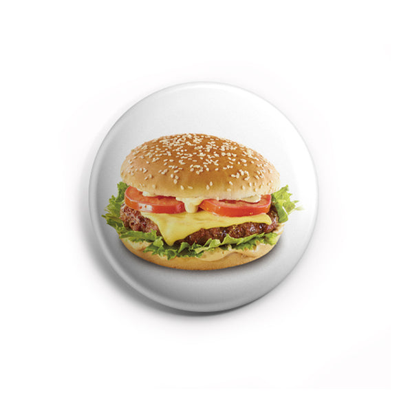 AVI 58mm Pin Badges White Burger for Food Lovers Regular Size 58mm R8002190