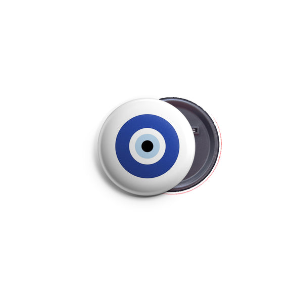 AVI 58mm Pin up Badge Regular Size White Fortunate Evil Eye Symbol R8002194