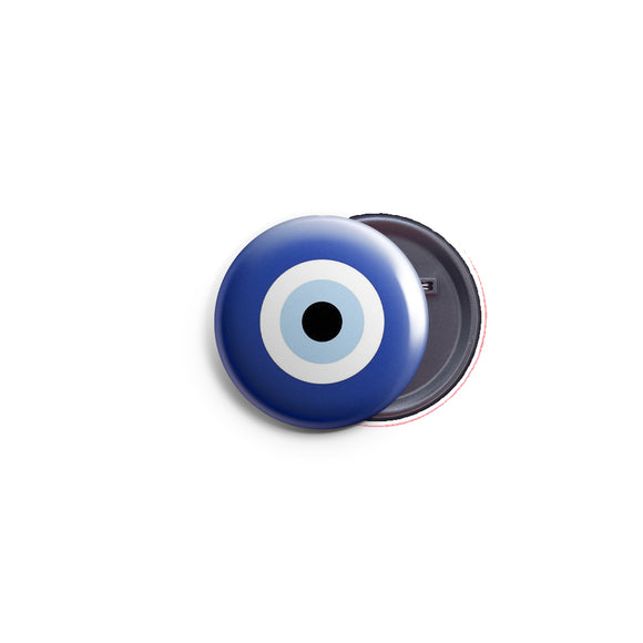 AVI 58mm Pin up Badge Regular Size Blue Fortunate Evil Eye Symbol R8002195