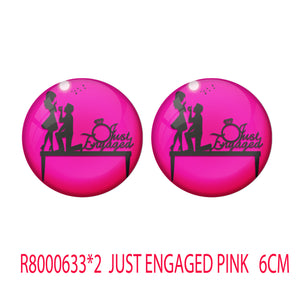 AVI Metal Pink Colour Pin Badges With Just Engaged Pink Design  (Pack of 2)