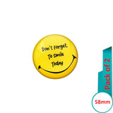 AVI Pin Badges with Yellow Don't forget to smile today Quote Design Pack of 2