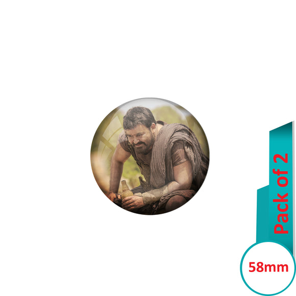 AVI Pin Badges with Multi Mohanlal ithikkarapakki Quote Design Pack of 2