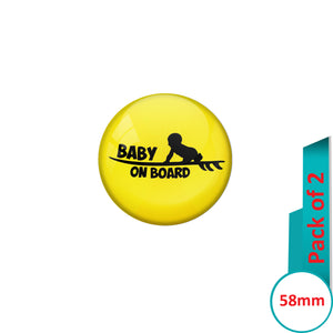 AVI Pin Badges with Yellow Baby on board Quote Design Pack of 2