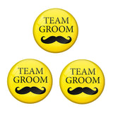 AVI Metal Yellow Colour Pin Badges With Team Groom Yellow Design  (Pack of 3)