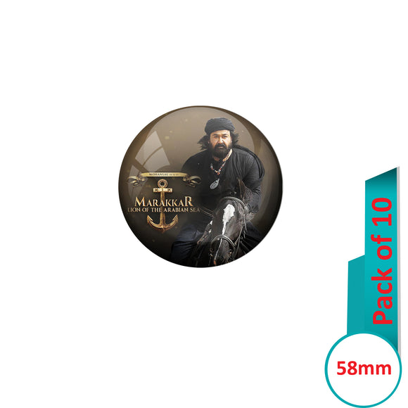 AVI Pin Badges with Multi Mohanlal Marakkar Lion of the arabian sea Quote Design Pack of 10