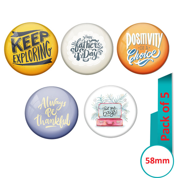 AVI Multi Colour Metal  Pin Badges  with Pack of 5 Happy Positive quotes PQ 20 Design