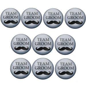 AVI Metal Grey Colour Pin Badges Team Groom Design (Pack of 10)