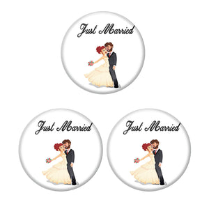 AVI Metal Multi Colour Pin Badges With Just married Western Couple Design  (Pack of 3)