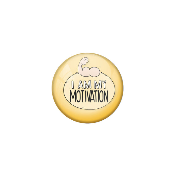 AVI Yellow Metal Pin Badges with Positive Quotes I am my motivation Design