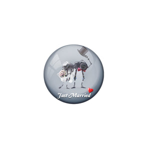 AVI Metal Grey Colour Fridge Magnet With Just married Couple 4 Design