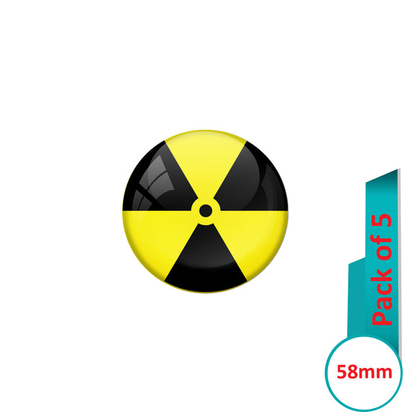AVI Pin Badges with Yellow Radiation hazard Quote Design Pack of 5