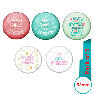 AVI Multi Colour Metal  Pin Badges  with Pack of 5 Happy Positive quotes PQ 32 Design
