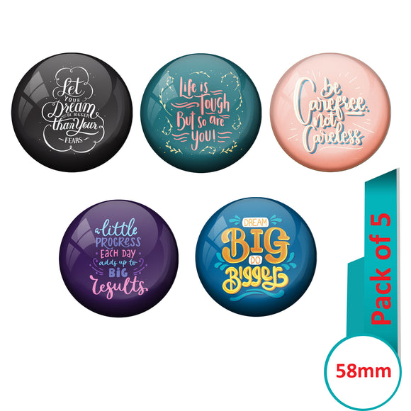 AVI Multi Colour Metal  Pin Badges  with Pack of 5 Happy Positive quotes PQ 18 Design
