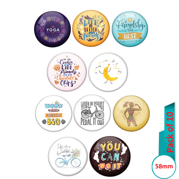 AVI Multi Colour Metal  Pin Badges  with Pack of 10 Happy Positive quotes PQ 54 Design