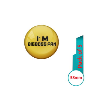 AVI Pin Badges with Multi Iam Bigboss fan Quote Design Pack of 5