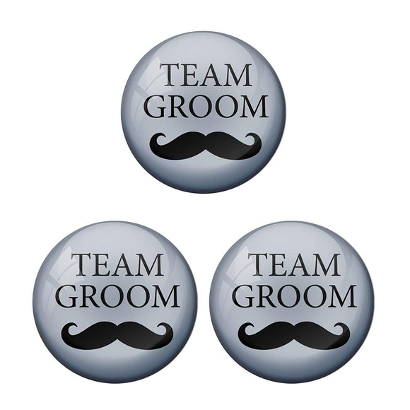 AVI Metal Grey Colour Pin Badges With Team Groom  (Pack of 3)