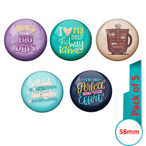 AVI Multi Colour Metal Fridge Magnet  with Pack of 5 Happy Positive quotes PQ 17 Design