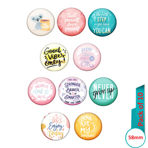 AVI Multi Colour Metal  Pin Badges  with Pack of 10 Happy Positive quotes PQ 12 Design