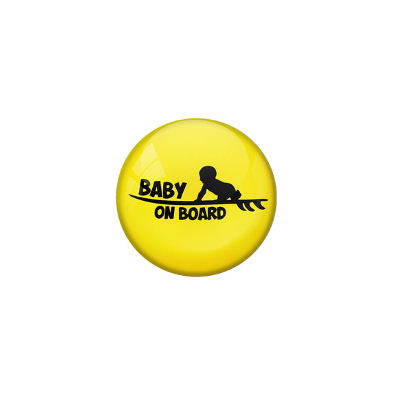 AVI Pin Badges with Yellow Baby on board Quote Design Pack of 1
