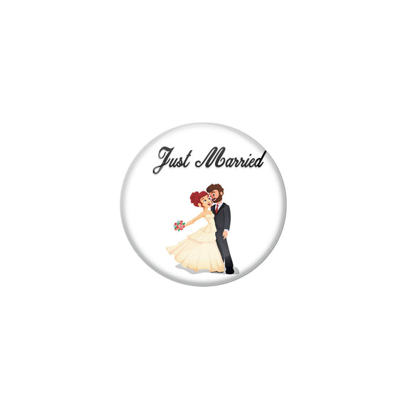 AVI Metal White Colour Fridge Magnet With Just married Couple 2 Design