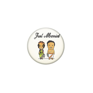 AVI Metal White Colour Fridge Magnet With Just married Couple 1 Design
