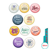 AVI Multi Colour Metal  Pin Badges  with Pack of 10 Happy Positive quotes PQ 53 Design