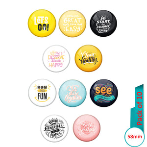 AVI Multi Colour Metal  Pin Badges  with Pack of 10 Happy Positive quotes PQ 15 Design