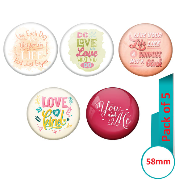 AVI Multi Colour Metal  Pin Badges  with Pack of 5 Happy Positive quotes PQ 34 Design