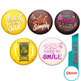 AVI Multi Colour Metal  Pin Badges  with Pack of 5 Happy Positive quotes PQ 44 Design