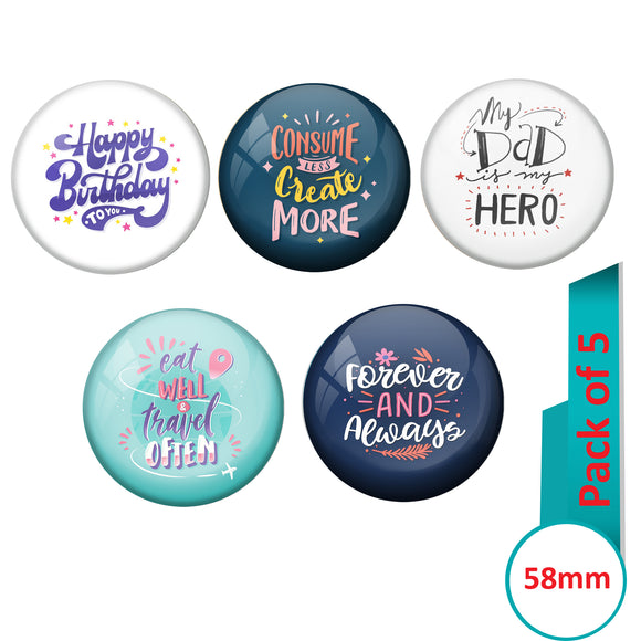 AVI Multi Colour Metal Fridge Magnet  with Pack of 5 Happy Positive quotes PQ 22 Design