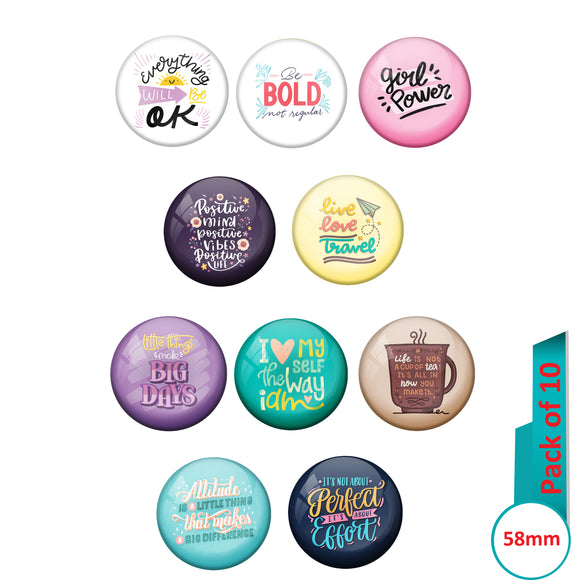 AVI Multi Colour Metal  Pin Badges  with Pack of 10 Happy Positive quotes PQ 26 Design