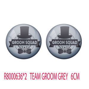 AVI Metal Grey Colour Pin Badges  Groom Squad Design (Pack of 2)