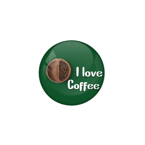 AVI Metal Green Colour Pin Badges With I love Coffee Design