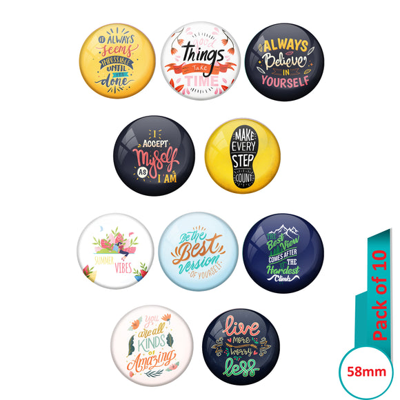 AVI Multi Colour Metal  Pin Badges  with Pack of 10 Happy Positive quotes PQ 13 Design