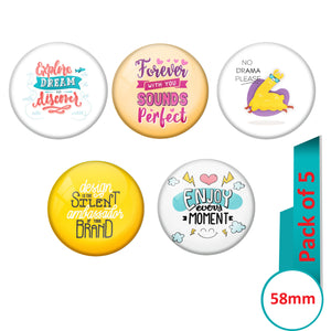 AVI Multi Colour Metal Fridge Magnet  with Pack of 5 Happy Positive quotes PQ 23 Design