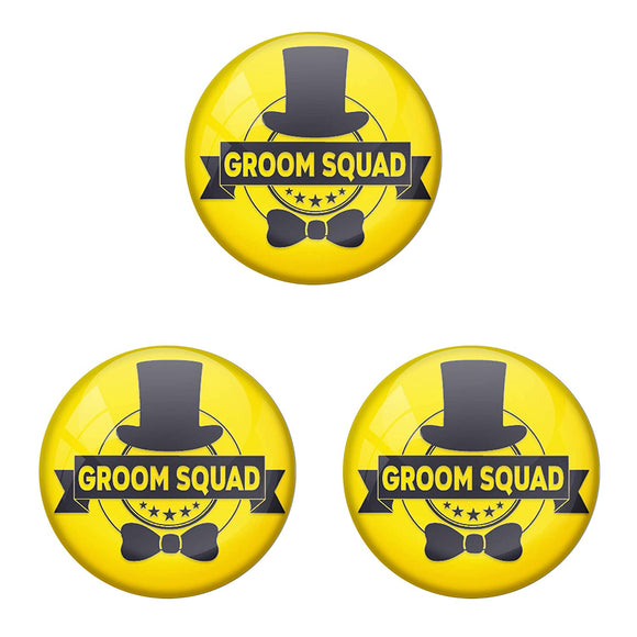 AVI Metal Yellow Colour Pin Badges With Groom Squad Yellow Design (Pack of 3)