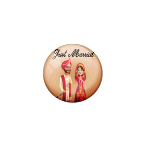 AVI Metal Brown Colour Fridge Magnet With Just married Couple Indian Design
