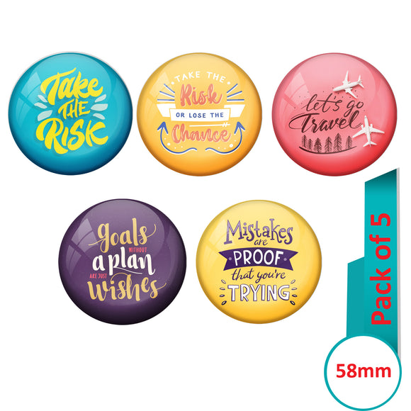AVI Multi Colour Metal Fridge Magnet  with Pack of 5 Happy Positive quotes PQ 35 Design