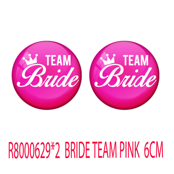 AVI Metal Pink Colour Fridge Magnet With Bride Team Pink Design Pack of 2