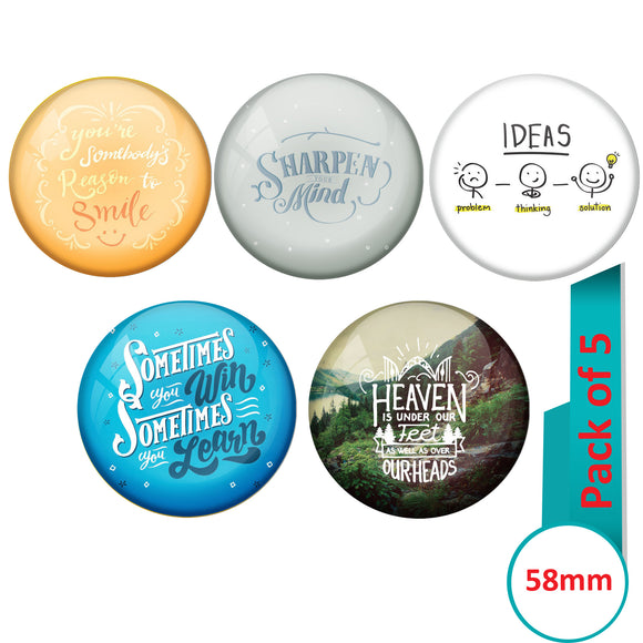 AVI Multi Colour Metal  Pin Badges  with Pack of 5 Happy Positive quotes PQ 45 Design
