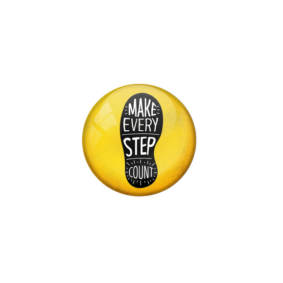AVI Yellow Metal Fridge Magnet with Positive Quotes Make every step count Design