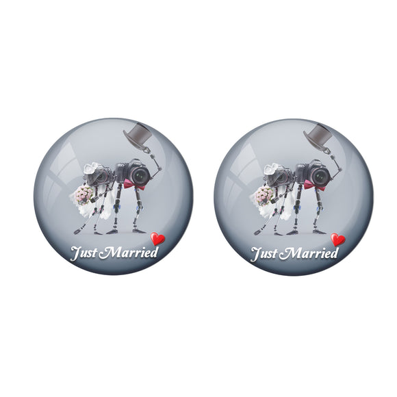 AVI Metal Multi Colour Pin Badges With Just married Photographer Couple Design  (Pack of 2)