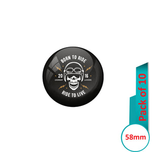 AVI Pin Badges with Multi Born to ride live to ride Quote Design Pack of 10