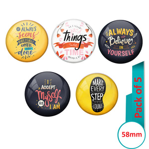 AVI Multi Colour Metal Fridge Magnet  with Pack of 5 Happy Positive quotes PQ 5 Design