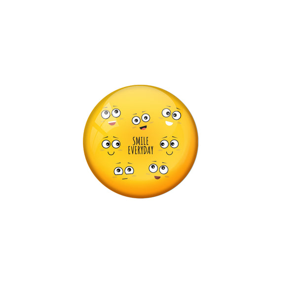 AVI Yellow Metal Fridge Magnet with Positive Quotes Smile everyday Design