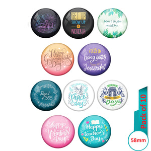 AVI Multi Colour Metal  Pin Badges  with Pack of 10 Happy Positive quotes PQ 57 Design