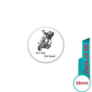 AVI Pin Badges with Multi Eat sleep ride repeat Quote Design Pack of 10