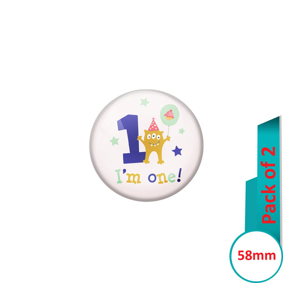 AVI Pin Badges with Multi Happy Birthday to you Quote Design Pack of 2